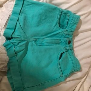 Size 24 Teal Denim American Apparel Shorts